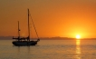 Anchored on the tranquil Sea of Cortez at sunset