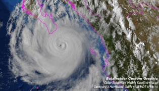 Color enhanced satellite image of Cat 3 Hurricane Odile hours before making landfall